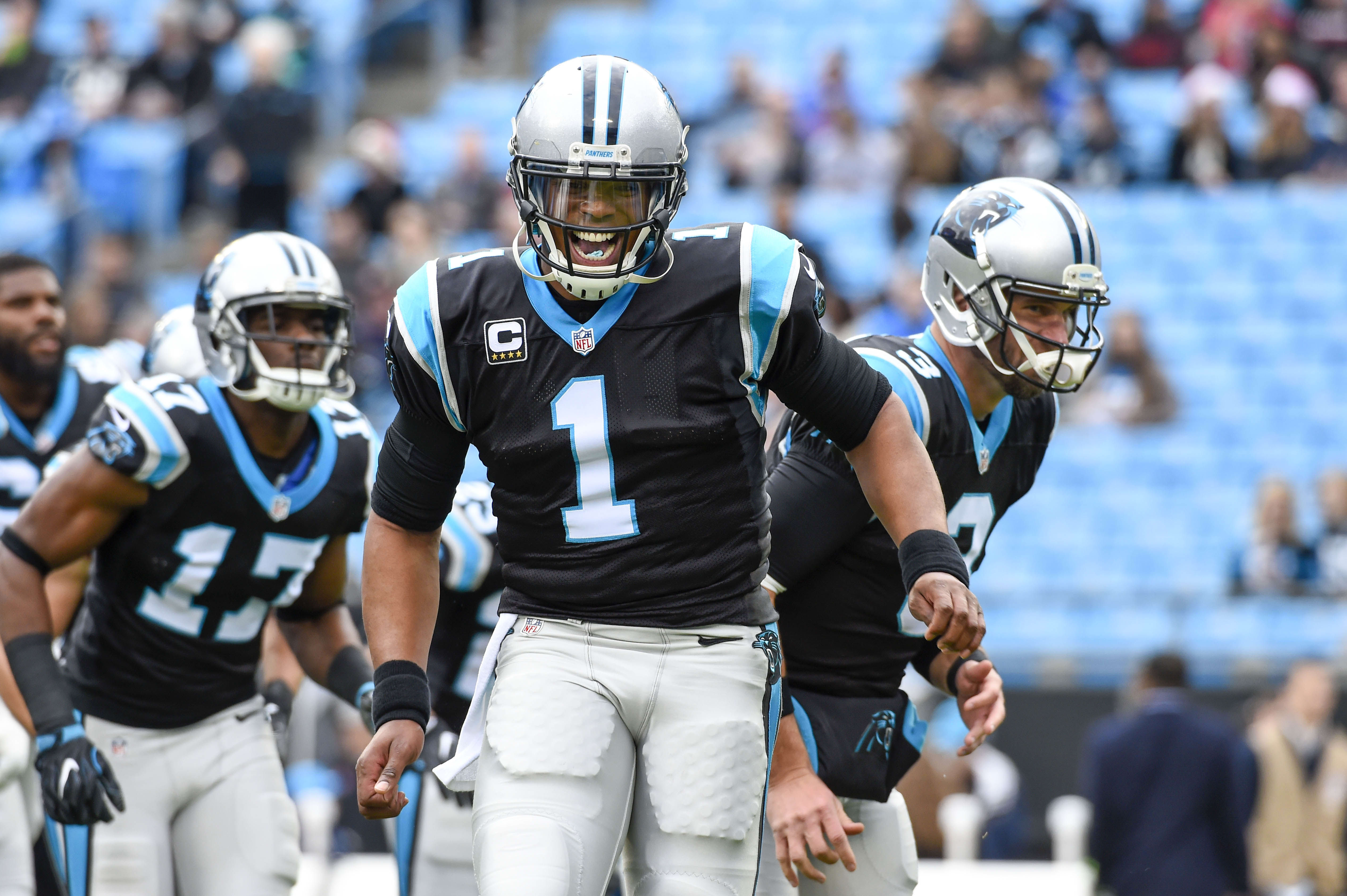 Dec 24, 2016; Charlotte, NC, USA; Carolina Panthers wide receiver Devin Funchess (17) and quarterback Cam Newton (1) and quarterback Derek Anderson (3) before the game at Bank of America Stadium. Mandatory Credit: Bob Donnan-USA TODAY Sports