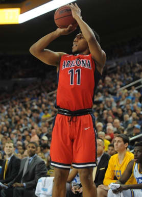 January 7, 2016; Los Angeles, CA, USA; Arizona Wildcats guard Allonzo Trier (11) shoots against UCLA Bruins during the first half at Pauley Pavilion. Mandatory Credit: Gary A. Vasquez-USA TODAY Sports