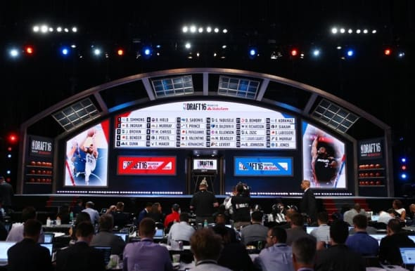 Jun 23, 2016; New York, NY, USA; A general view of a video board displaying all thirty draft picks in the first round of the 2016 NBA Draft at Barclays Center. Mandatory Credit: Jerry Lai-USA TODAY Sports