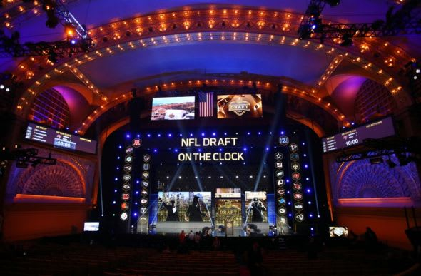 Apr 30, 2015; Chicago, IL, USA; A general view of the stage before the 2015 NFL Draft at the Auditorium Theatre of Roosevelt University. Mandatory Credit: Jerry Lai-USA TODAY Sports