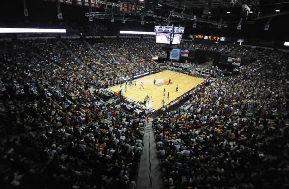Jul 10, 2015; Las Vegas, NV, USA; The lower bowl seating of the Thomas and Mack Center is filled with fans watching the Lakers play the Timberwolves during the first day of the NBA Summer League in Las Vegas. Minnesota won the game 81-68. Mandatory Credit: Stephen R. Sylvanie-USA TODAY Sports