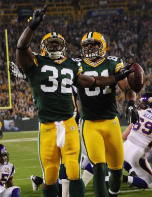 Brandon Jackson celebrates a 2010 touchdown against the Minnesota Vikings at Lambeau Field. Raymond T. Rivard photograph