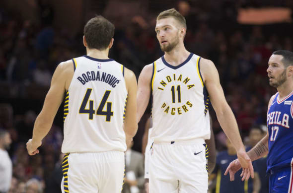 Bojan Bogdanovic and Domantas Sabonis of the Indiana Pacers