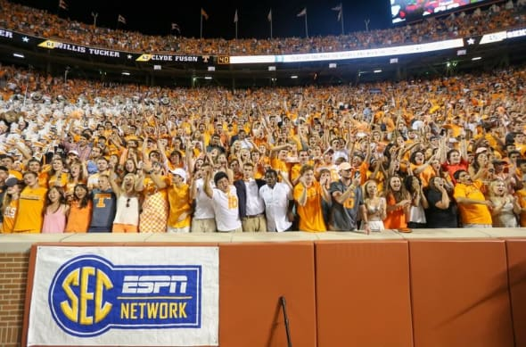 Sep 1, 2016; Knoxville, TN, USA; Tennessee Volunteers fans after winning in overtime against the Appalachian State Mountaineers at Neyland Stadium. Tennessee won 20-13. Mandatory Credit: Randy Sartin-USA TODAY Sports