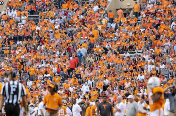 Oct 15, 2016; Knoxville, TN, USA; Tennessee Volunteers fans leaving during the second half against the Alabama Crimson Tide at Neyland Stadium. Mandatory Credit: Randy Sartin-USA TODAY Sports