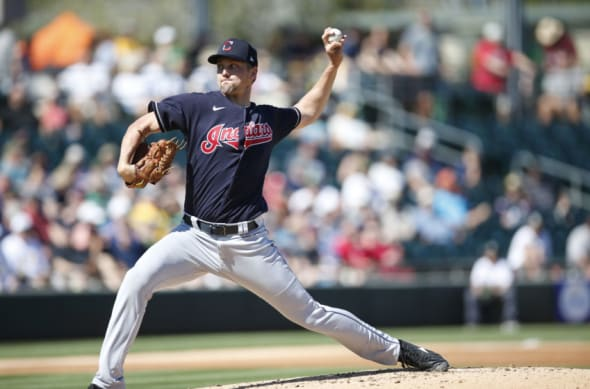 Scott Moss of the Cleveland Indians pitches during the game against the Oakland Athletics at Hohokam Stadium.