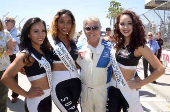 Apr 17, 2016; Long Beach, CA, USA; (From Left to Right) Miss 2016 Toyota Grand Prix of Long Beach first runner-up Marisu Imperial, second runner-up Brianna Porter, Mario Andretti, and winner Jazmin O'Campo pose at the 42nd Toyota Grand Prix of Long Beach on the streets of Long Beach. Mandatory Credit: Kirby Lee-USA TODAY Sports