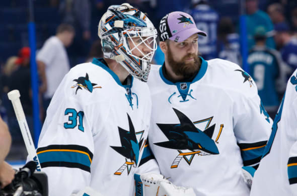 The San Jose Sharks goalies pose for a picture following a win against the Tampa Bay Lightning.