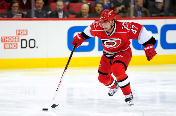 Marc-Andre Bergeron with the Carolina Hurricanes