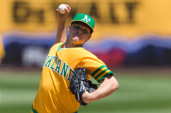 Aug 6, 2016; Oakland, CA, USA; Oakland Athletics starting pitcher Sonny Gray (54) pitches against the Chicago Cubs in the fifth inning at O.co Coliseum. Mandatory Credit: John Hefti-USA TODAY