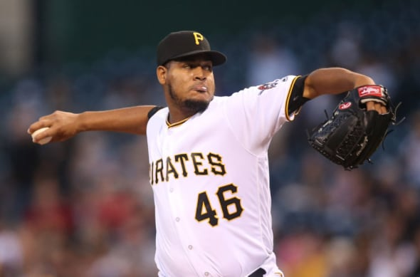 Sep 24, 2016; Pittsburgh, PA, USA; Pittsburgh Pirates starting pitcher Ivan Nova (46) delivers a pitch against the Washington Nationals during the first inning at PNC Park. Mandatory Credit: Charles LeClaire-USA TODAY Sports
