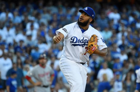 Oct 11, 2016; Los Angeles, CA, USA; Los Angeles Dodgers relief pitcher Kenley Jansen (74) delivers a pitch in the ninth inning against the Washington Nationals during game four of the 2016 NLDS playoff baseball series at Dodger Stadium. Mandatory Credit: Jayne Kamin-Oncea-USA TODAY Sports