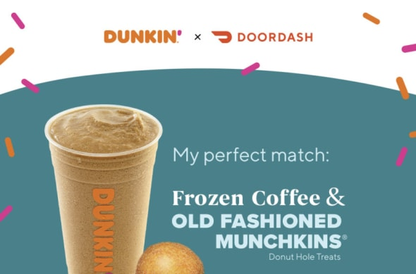 DoorDash, Dunkin, Dunkin beverage and Munchkins pairing