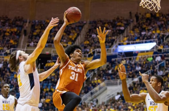 Feb 20, 2017; Morgantown, WV, USA; Texas Longhorns forward Jarrett Allen (31) shoots in the lane during the first half against the West Virginia Mountaineers at WVU Coliseum. Mandatory Credit: Ben Queen-USA TODAY Sports