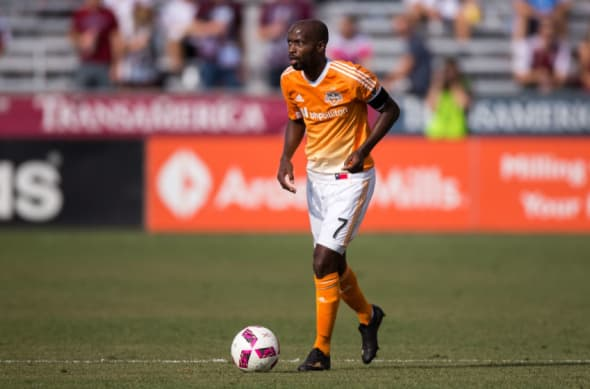 Oct 23, 2016; Commerce City, CO, USA; Houston Dynamo midfielder DaMarcus Beasley (7) controls the ball in the first half against the Colorado Rapids at Dick's Sporting Goods Park. Mandatory Credit: Isaiah J. Downing-USA TODAY Sports