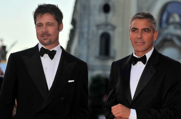 VENICE, ITALY - AUGUST 27: Actors Brad Pitt and George Clooney arrive at the opening ceremony and 'Burn After Reading' Premiere during the 65th Venice Film Festival at Sala Grande on August 27, 2008 in Venice, Italy. (Photo by Pascal Le Segretain/Getty Images)