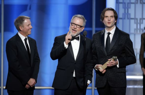 "Jan 8, 2017; Beverly Hills, CA, USA; Byron Howard, Rich Moore, ""Zootopia"", accept the award for Best Motion Picture - Animated during the 74th Golden Globe Awards at Beverly Hilton. Mandatory Credit: Paul Drinkwater/Handout Photo via USA TODAY NETWORK"