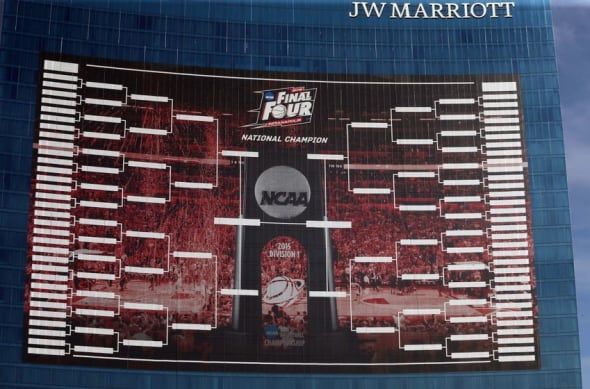 Mar 16, 2015; Indianapolis, IN, USA; A large banner displaying the NCAA Mens Basketball Championship bracket is on the front of the J.W. Marriott hotel in downtown Indianapolis. Mandatory Credit: Brian Spurlock-USA TODAY Sports