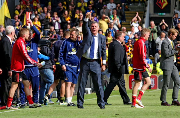 WATFORD, ENGLAND - MAY 15: Sunderland manager Sam Allardyce during the Barclays Premier League match between Watford and Sunderland at Vicarage Road on May 15, 2016 in Watford, England. (Photo by Ian Horrocks/Sunderland AFC via Getty Images)