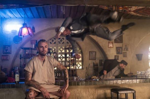 Joseph Gilgun as Cassidy, Miritani Hughes as Kamal, David Field as Archangel- Preacher _ Season 4, Episode 5 - Photo Credit: Lachlan Moore/AMC/Sony Pictures Television