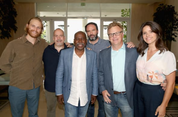 LOS ANGELES, CA - JULY 28: (L-R) Actor Wyatt Russell, executive producer Paul Giamatti, actor Brent Jennings, creator/writer/executive producer Jim Gavin, executive producer/showrunner Peter Ocko and actor Sonya Cassidy of 'Lodge 49' attend the AMC Networks portion of the Summer 2018 TCA Press Tour at The Beverly Hilton Hotel on July 28, 2018 in Los Angeles, California. (Photo by Jesse Grant/Getty Images for AMC)