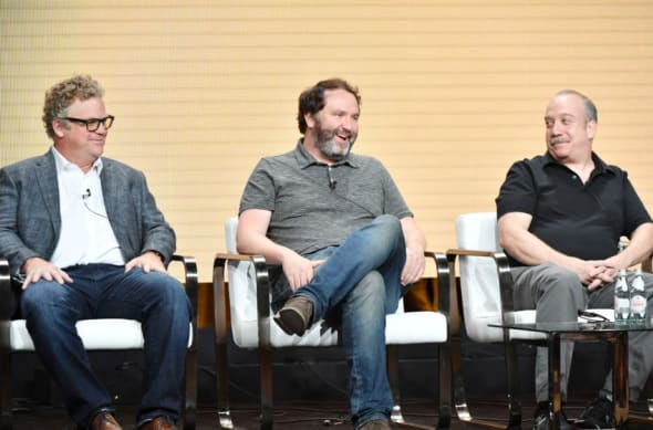 BEVERLY HILLS, CALIFORNIA - JULY 25: Peter Ocko, Jim Gavin and Paul Giamatti of 'Lodge 49' speak during the AMC segment of the Summer 2019 Television Critics Association Press Tour 2019 at The Beverly Hilton Hotel on July 25, 2019 in Beverly Hills, California. (Photo by Amy Sussman/Getty Images)