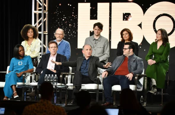 """PASADENA, CALIFORNIA - JANUARY 15: (L-R, top row) Lenora Crichlow, Ethan Phillips, Zachary Woods, Rebecca Front, Suzy Nakamura (bottom row) Nikki Amuka-Bird, Hugh Laurie, executive producer Armando Iannucci and Josh Gad of """"Avenue 5"""" speak during the HBO segment of the 2020 Winter TCA Press Tour at The Langham Huntington, Pasadena on January 15, 2020 in Pasadena, California. (Photo by Amy Sussman/Getty Images)"""