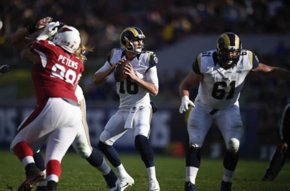 Jan 1, 2017; Los Angeles, CA, USA; Los Angeles Rams quarterback Jared Goff (16) in action against the Arizona Cardinals during the second quarter at Los Angeles Memorial Coliseum. Mandatory Credit: Kelvin Kuo-USA TODAY Sports