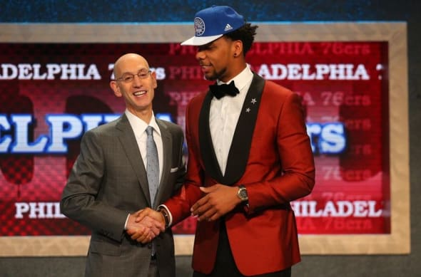 Jun 25, 2015; Brooklyn, NY, USA; Jahlil Okafor (Duke) greets NBA commissioner Adam Silver after being selected as the number three overall pick to the Miami Heat in the first round of the 2015 NBA Draft at Barclays Center. Mandatory Credit: Brad Penner-USA TODAY Sports