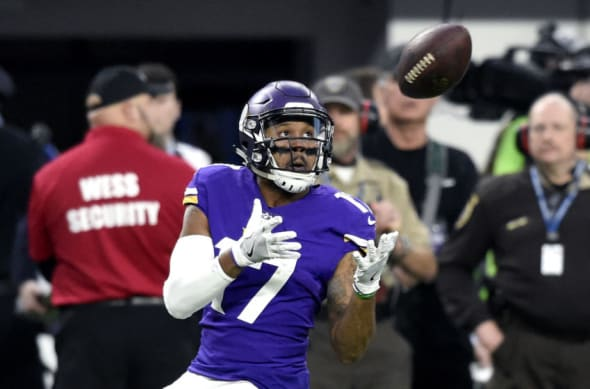 MINNEAPOLIS, MN - JANUARY 14: Jarius Wright #17 of the Minnesota Vikings catches the ball in the first quarter of the NFC Divisional Playoff game against the New Orleans Saints on January 14, 2018 at U.S. Bank Stadium in Minneapolis, Minnesota. (Photo by Hannah Foslien/Getty Images)
