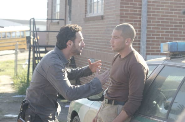 Rick Grimes (Andrew Lincoln) and Shane Walsh (Jon Bernthal) - The Walking Dead - Season 2, Episode 10 - Photo Credit: Gene Page/AMC