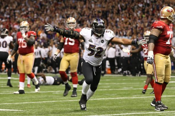 Feb 3, 2013; New Orleans, LA, USA; Baltimore Ravens inside linebacker Ray Lewis (52) reacts after a fourth down stop against the San Francisco 49ers in Super Bowl XLVII at the Mercedes-Benz Superdome. Mandatory Credit: Matthew Emmons-USA TODAY Sports