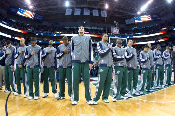 Apr 14, 2014; Salt Lake City, UT, USA; Utah Jazz players during the National Anthem prior to the game against the Los Angeles Lakers at EnergySolutions Arena. The Lakers won 119-104. Mandatory Credit: Russ Isabella-USA TODAY Sports