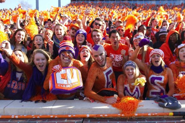Nov 29, 2014; Clemson, SC, USA; Clemson Tigers fans celebrate during the fourth quarter of the game against the South Carolina Gamecocks at Clemson Memorial Stadium. Tigers won 35-17. Mandatory Credit: Joshua S. Kelly-USA TODAY Sports