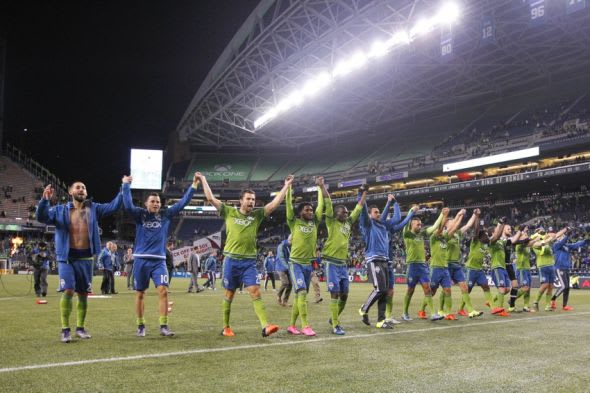 Sounders celebrate conference playoff win against FC Dallas