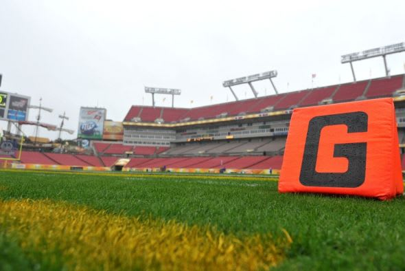 Jan 1, 2014; Tampa, Fl, USA; A general view of Raymond James Stadium before a game between the Iowa Hawkeyes and LSU Tigers. Mandatory Credit: Steve Mitchell-USA TODAY Sports