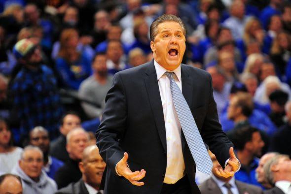 Nov 18, 2014; Indianapolis, IN, USA; Kentucky coach John Calipari reacts to his teams