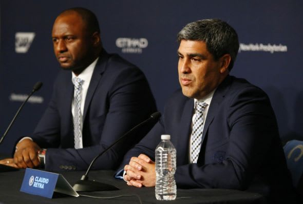 Jan 20, 2016; Bronx, NY, USA; New York City FC new head coach Patrick Vieira (left) and sporting director Claudio Reyna answer questions from the media during press conference at Yankee Stadium. Mandatory Credit: Noah K. Murray-USA TODAY Sports