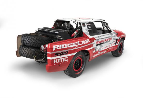Ridgeline Baja Race Truck hints at the styling direction for the all-new 2017 Ridgeline pickup.