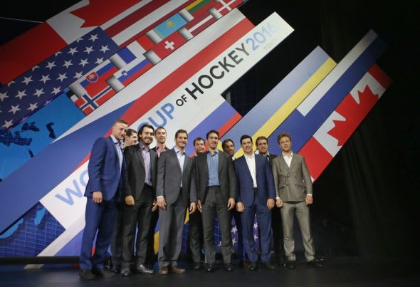 Sep 9, 2015; Toronto, Ontario, Canada; Steven Stamkos and Evgeni Malkin and Drew Doughty and Zdeno Chara and Brandon Saad and Tuukka Rask and Ryan McDonagh and Henrik Lundqvist and Sidney Crosby and Anze Kopitar and Dave Pastrnak pose during a press conference and media event for the 2016 World Cup of Hockey at Air Canada Centre. Mandatory Credit: Tom Szczerbowski-USA TODAY Sports