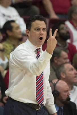 January 21, 2016; Stanford, CA, USA; Arizona Wildcats head coach Sean Miller instructs during the first half against the Stanford Cardinal at Maples Pavilion. Mandatory Credit: Kyle Terada-USA TODAY Sports