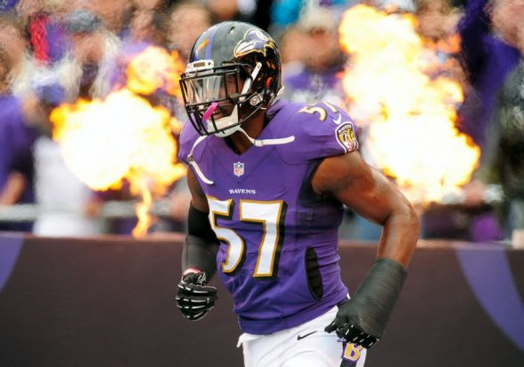 Dec 28, 2014; Baltimore, MD, USA; Baltimore Ravens linebacker C.J. Mosley (57) gets introduced prior to the game against the Cleveland Browns at M&T Bank Stadium. Mandatory Credit: Evan Habeeb-USA TODAY Sports