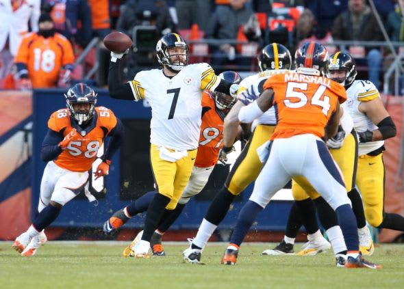 Jan 17, 2016; Denver, CO, USA; Pittsburgh Steelers quarterback Ben Roethlisberger (7) throws on the run against the Denver Broncos during the third quarter of the AFC Divisional round playoff game at Sports Authority Field at Mile High. Mandatory Credit: Matthew Emmons-USA TODAY Sports