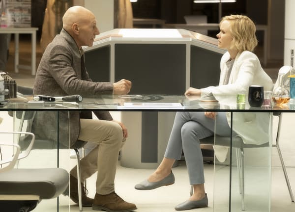 Pictured (l-r): Sir Patrick Stewart as Jean-Luc Picard; Alison Pill as Jurati of the CBS All Access series STAR TREK: PICARD. Photo Cr: Justin Lubin/CBS ©2019 CBS Interactive, Inc. All Rights Reserved.