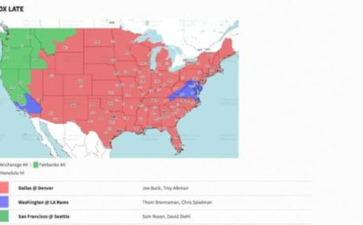 FOX Late broadcast map for NFL Week 2