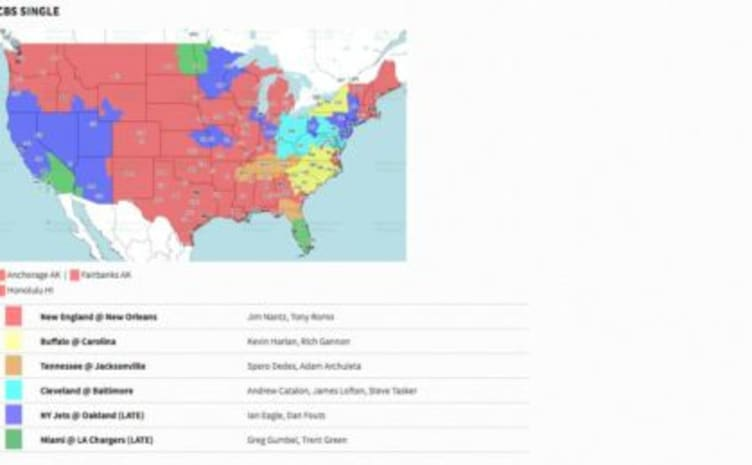 CBS Broadcast Map of NFL Week 2