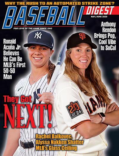 SF Giants coach Alyssa Nakken on the cover of Baseball Digest.