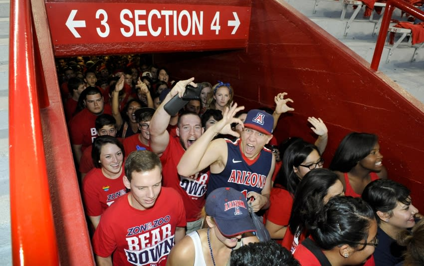 Oct 11, 2014; Tucson, AZ, USA; Arizona Wildcats fans enter the Zona Zoo student section before the game against the Southern California Trojans at Arizona Stadium. Mandatory Credit: Casey Sapio-USA TODAY Sports
