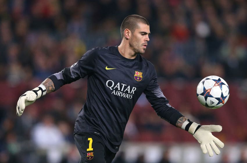 Victor Valdes of FC Barcelona at Camp Nou on March 12, 2014 (Photo by Alex Livesey/Getty Images)