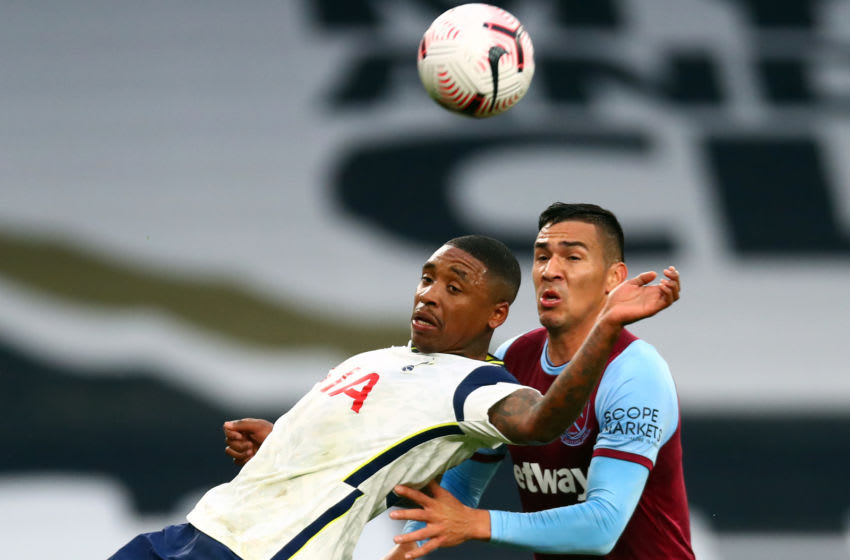 Fabian Balbuena scored West Ham's first goal of the afternoon with a perfect header.